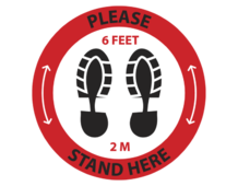 "A rounded ""please stand here"" Social Distancing Floor Decal"